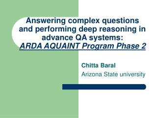 Chitta Baral Arizona State university