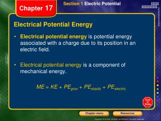 Electrical Potential Energy