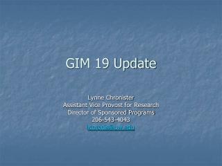 GIM 19 Update