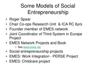 Some Models of Social Entrepreneurship