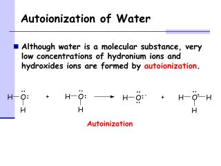 Autoionization of Water