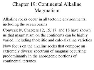 Chapter 19: Continental Alkaline Magmatism