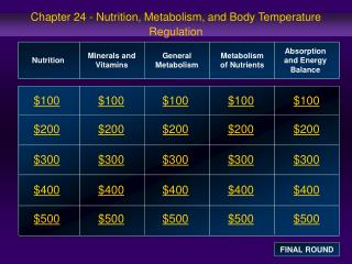 Chapter 24 - Nutrition, Metabolism, and Body Temperature Regulation