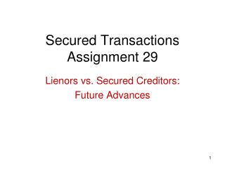 Secured Transactions Assignment 29