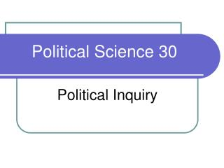 Political Science 30