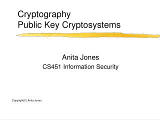 Cryptography Public Key Cryptosystems