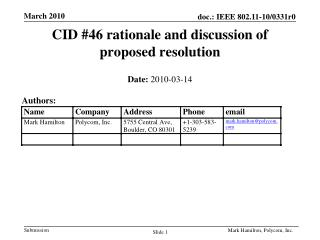 CID #46 rationale and discussion of proposed resolution