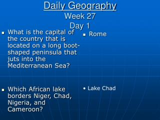 Daily Geography Week 27 Day 1