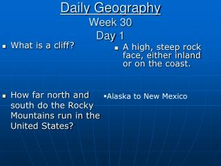 Daily Geography Week 30 Day 1