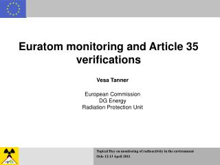Euratom monitoring and Article 35 verifications