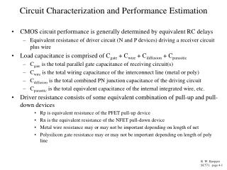 Circuit Characterization and Performance Estimation