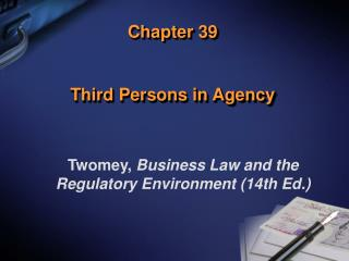 Chapter 39 Third Persons in Agency