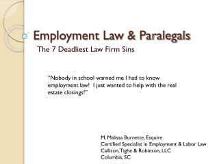 Employment Law  Paralegals