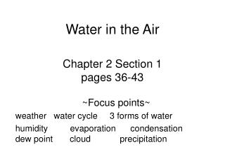 Chapter 2 Section 1 pages 36-43