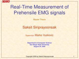Real-Time Measurement of  Prehensile EMG signals