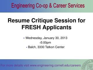Resume Critique Session for FRESH Applicants