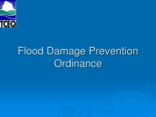 Flood Damage Prevention Ordinance