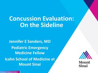 Concussion Evaluation:  On the Sideline