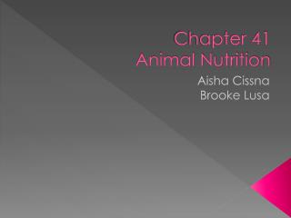 Chapter 41 Animal Nutrition