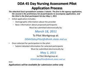 DDA 45 Day Nursing Assessment Pilot Application Process .