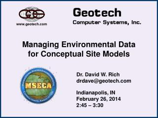 Managing Environmental Data for Conceptual Site Models
