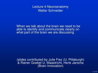 Lecture 4-Neuroanatomy Walter Schneider