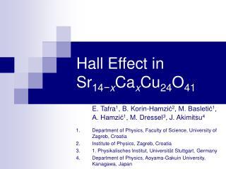 Hall Effect in Sr 14− x Ca x Cu 24 O 41