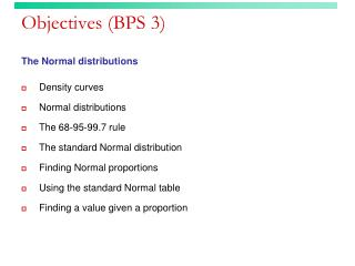 Objectives (BPS 3)