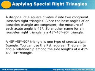 Example 1A: Finding Side Lengths in a 45 ° - 45º- 90º Triangle