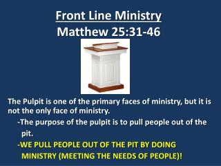 Front Line Ministry Matthew 25:31-46