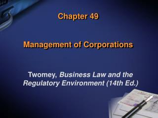 Chapter 49 Management of Corporations