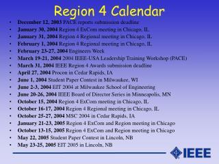 Region 4 Calendar