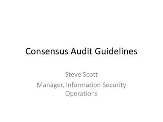 Consensus Audit Guidelines