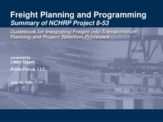 Freight Planning and Programming