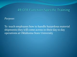 49 CFR Function Specific Training