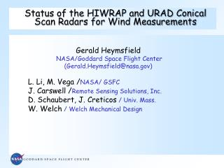 Status of the HIWRAP and URAD Conical Scan Radars for Wind Measurements