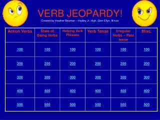VERB JEOPARDY Created by Heather Beaman   Hadley Jr. High, Glen Ellyn, Illinois