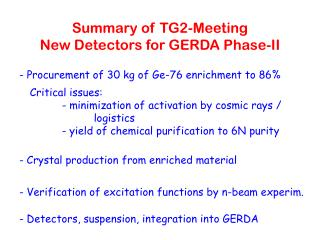 Summary of TG2-Meeting  New Detectors for GERDA Phase-II