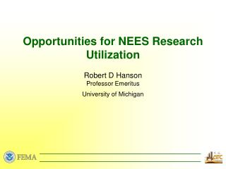 Opportunities for NEES Research Utilization