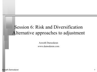 Session 6: Risk and Diversification Alternative approaches to adjustment