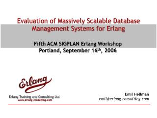 Evaluation of Massively Scalable Database Management Systems for Erlang