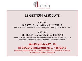 LE GESTIONI ASSOCIATE ART. 14  Dl 78/2010 convertito in L. 122/2010