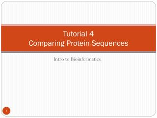 Tutorial 4 Comparing Protein Sequences