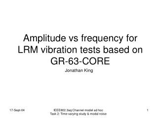 Amplitude vs frequency for LRM vibration tests based on GR-63-CORE