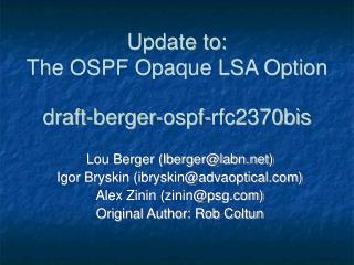 Update to: The OSPF Opaque LSA Option  draft-berger-ospf-rfc2370bis