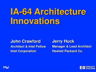 IA-64 Architecture Innovations