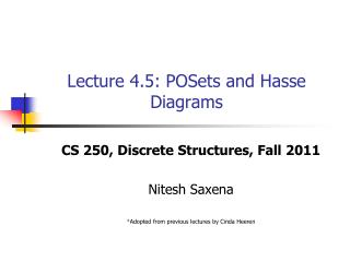 Lecture 4.5: POSets and Hasse Diagrams