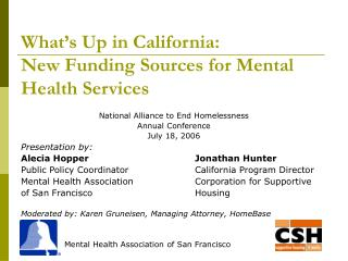 What's Up in California:  New Funding Sources for Mental Health Services
