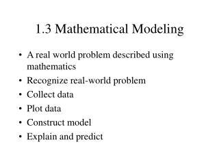 1.3 Mathematical Modeling