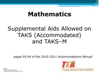 DRAFT Texas Education Agency  Student Assessment Division 2010